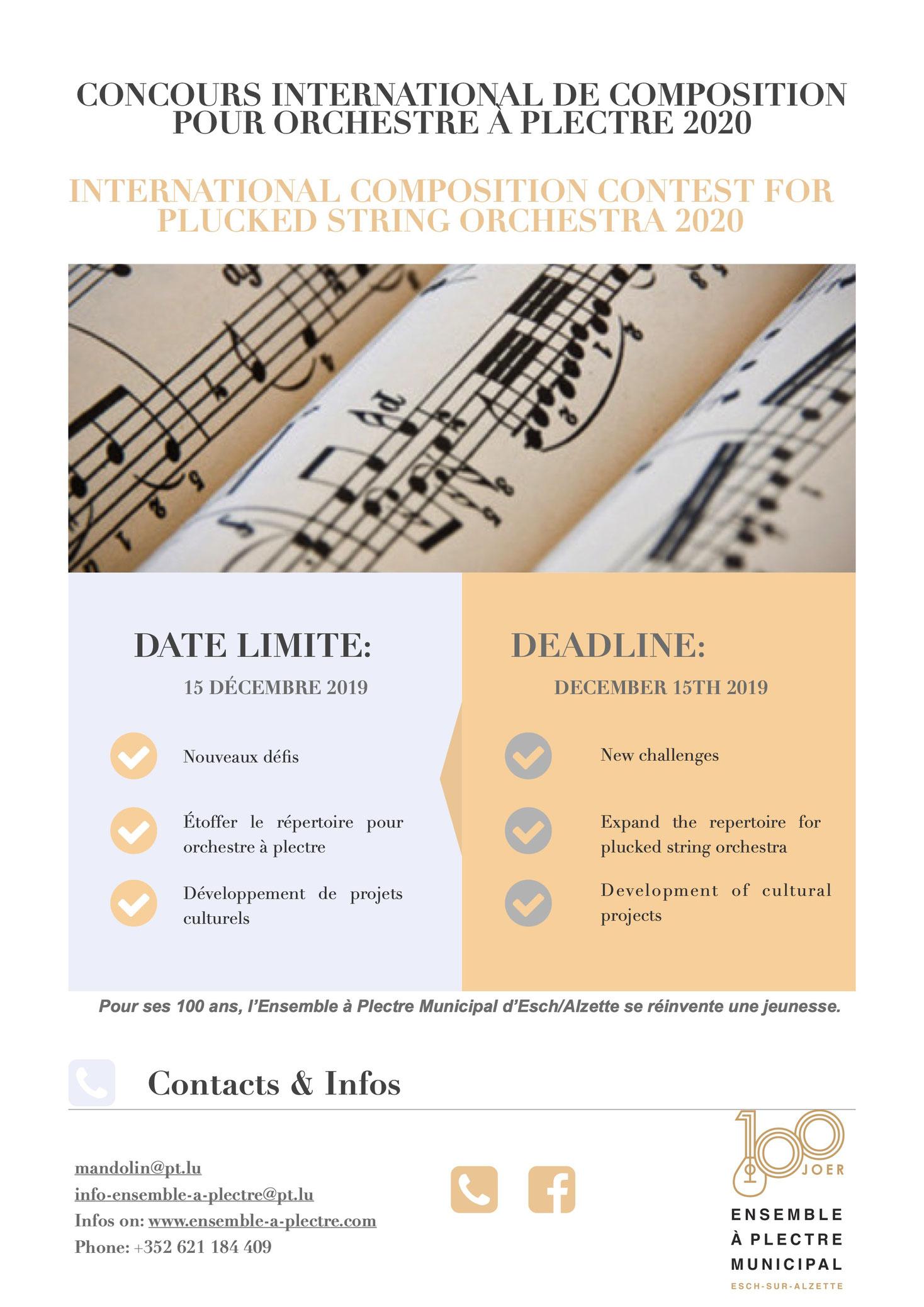 Concours International de Composition pour Orchestre à Plectre 2020